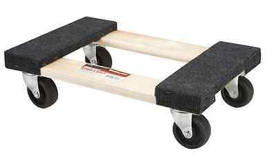 """1000 lb Capacity 12""""x18"""" Moving Furniture Dolly Hardwood, Rubber Swivel Casters"""