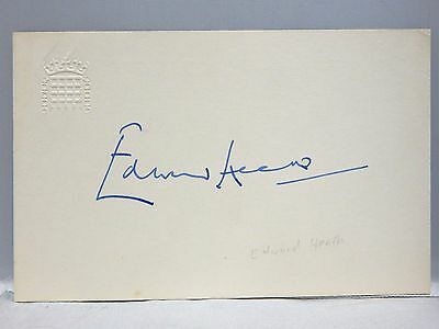 "Sir Edward ""Ted"" Heath Prime Minister United Kingdom Signed 3x5 Embossed Card"