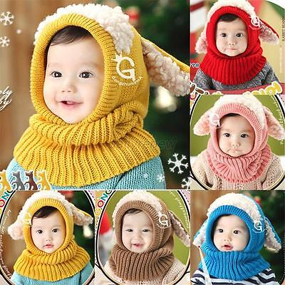 Warm Winter Wool Hat Cap Coif Hood Scarf For Toddler Boy Girl Baby Kids Cute D96