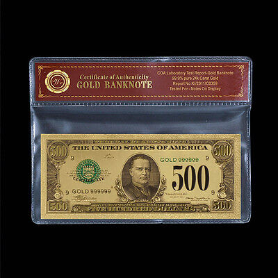 WR Colored US Dollar Bill Note $500 24k Pure Gold Foil Banknote For Collection