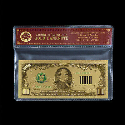 24k Fine Gold Plated US Dollar Banknote Colored $1000 Uncirculated In COA Sleeve