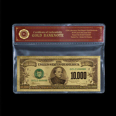 999 Gold $10000 Dollar Banknote Bill Colored U.S Uncirculated Note In COA Sleeve