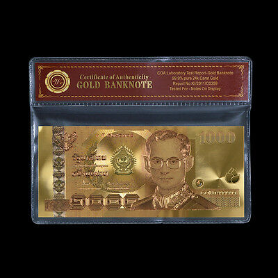 WR Colored Thailand Gold Banknote 1000 Baht King Bhumibol Adulyadej Paper Money