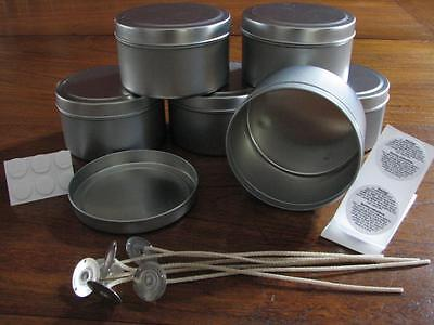 6 x Travel Tins 225gm Containers Candle Making + 6 Wicks, Stickums, Warning
