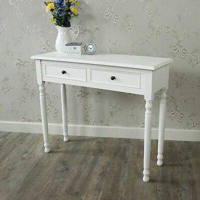 White Wooden Dressing Table Console Table Shabby Vintage Chic Bedroom Hallway