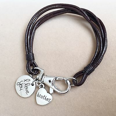 Real Leather Wristband  Bracelet 'I Love You Brother', Mens Dads Brothers Gift