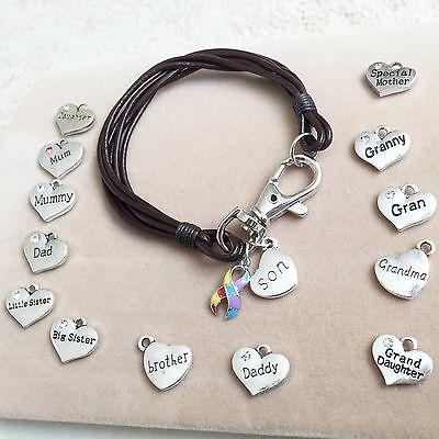 Real Leather Wristband Bracelet Autism Awareness Puzzle Ribbon & Family Charm