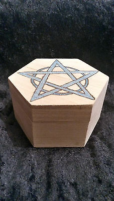 Beautiful Handcrafted Wooden Box With Pyrographed Design 2 Pagan Wicca Witch