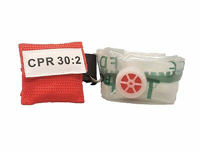 1 Red CPR Keychain Mask Face Shield Pocket with GLOVES Ships from USA!!!