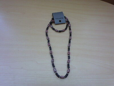 Mens Surf Jewellery Necklace And Bracelet One Size Elasticated Col Brown Black