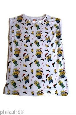 New Ladies Girls Womens White Christmas Minions Despicable Me Top T- Shirt