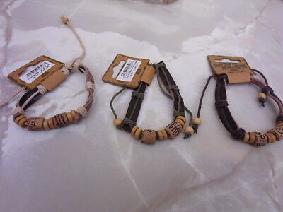 surf bracelets in 3 colours suede effect with wood beads on adj cord