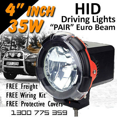 HID Driving Lights - Pair 4 Inch 35w Euro Beam 4x4 4wd Off Road 12v 24v