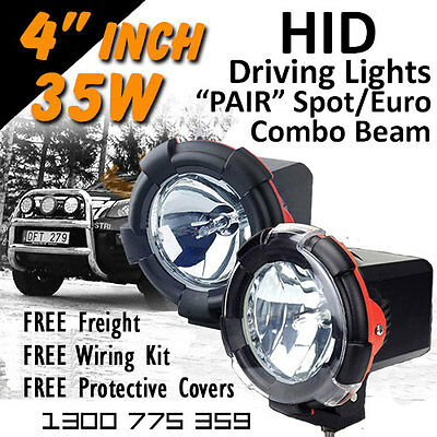 HID Xenon Driving Lights - Pair 4 Inch 35w Spot/Euro Combo 4x4 4wd Off Road