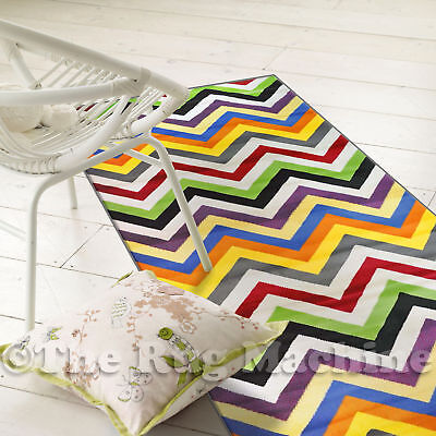 ASHER COLOURFUL CHEVRON ZIG ZAG MODERN DESIGN FLOOR RUG RUNNER 70cm **ANY LENGTH