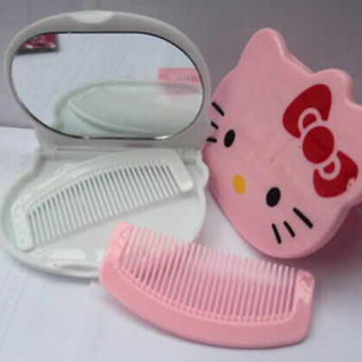 New HelloKitty Bling Compact Cosmetic / Make Up Mirror with Comb aa-8808