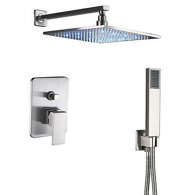"""LED Brushed Nickel 12"""" Shower Faucet Wall Mount Handheld Wand Shower Sprayer Tap"""