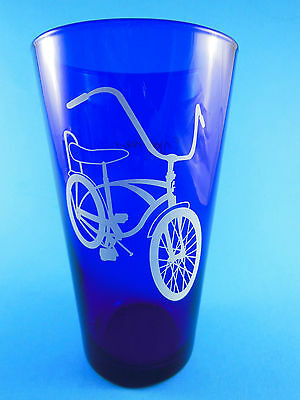 "Vintage Cobalt Blue 5 7/8"" Tall Drinking Glass Enjoy The Ride Bicycle design"
