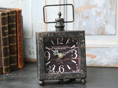 Mantle Clock Black Square Shabby Chic Vintage French Style Distressed Home Gift