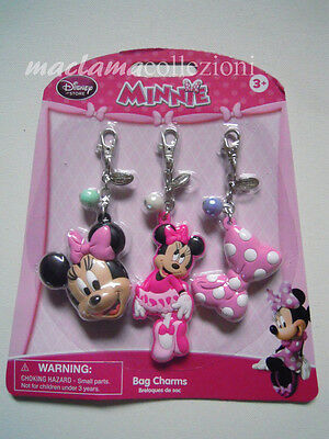 MINNIE 3 ciondoli bag charms originali DISNEY STORE nuovi maclama