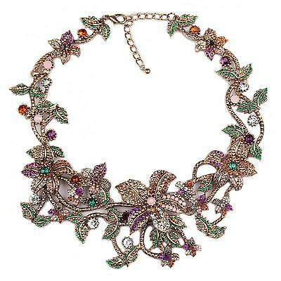 Zara Elegant Colourful Stones Flowers Leaves Collar Necklace - New