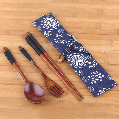 Set Japanese Natural Wooden Chopsticks & Spoon &Fork Set With Cloth For Gift