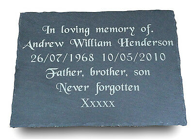 Personalised Engraved Natural Large Slate Memorial Headstone Grave Marker Plaque