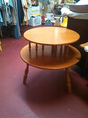 Antique Vintage Solid Wood Maple Two Tier Round Table