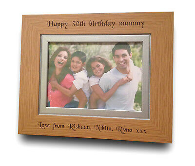 Personalised Engraved Solid Oak Wood Photo Frame Birthday Gift 30th 40th 50th