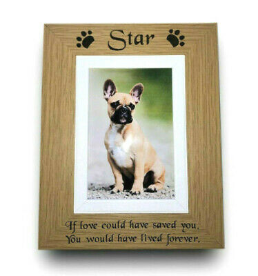 Personalised ENGRAVED Oak Wood Pet Memorial Photo Picture Frame Rabbit Dog Cat