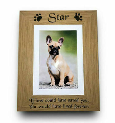 Personalised Engraved Solid Oak Wood Pet Memorial Photo Frame Dog Cat Rabbit