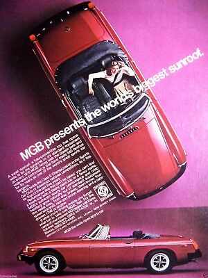 "1976 MG Ad-MGB-Girl In Red MG Convertible-8.5 x 10.5"" Original Ad"