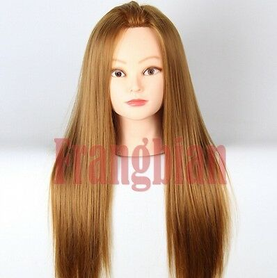 """24""""20%Real Human Hair Hairdressing Styling Training Model Female Mannequin Head"""