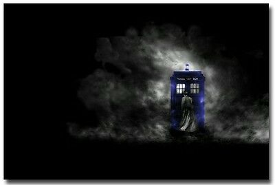 "Doctor Who Tardis in Darkness Poster on Huge Silk Fabric Canvas 36""x 24"""