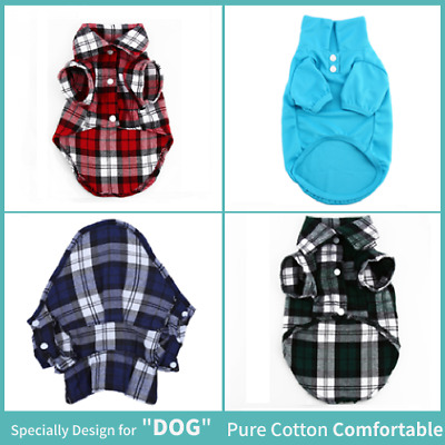 New Small Pet Dog Puppy Plaid T Shirt Lapel Coat Cat Jacket Clothes Costume Tops