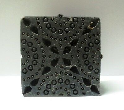 Antique Indian Wood Hand Carved Textile Print Fabric Block Stamp Square Shape