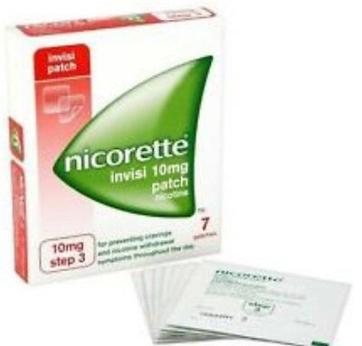 Nicorette Invisi Stop Smoking Patches 10mg x7 Step 3 Relieves Withdrawal Symptom