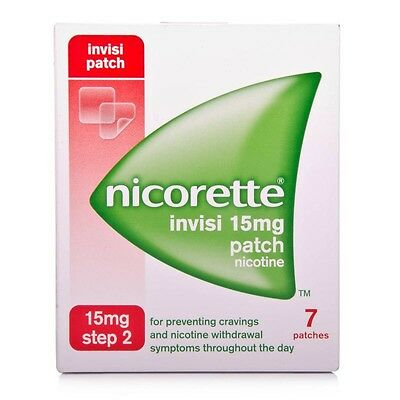 Nicorette Invisi 15 mg Stop Smoking Patches Step 2 Relieves Withdrawal Symptoms