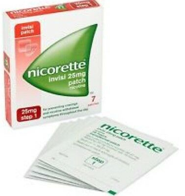 Nicorette Invisi Stop Smoking 25 mg Patch x7 Step 1 Relieves Withdrawal Symptoms