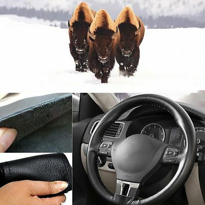 38cm / 15'' Leather Cowhide DIY Car Steering Wheel Cover w/ Needles and Thread