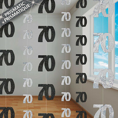70th BIRTHDAY PARTY SUPPLIES PK 6 GLITZ BLACK AND SILVER HANGING DECORATIONS