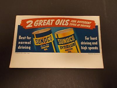 NOS Vtg SUNOCO Oil Co. Advertising Ink Blotter for Sunoco Oil & Sunoco Dynalube