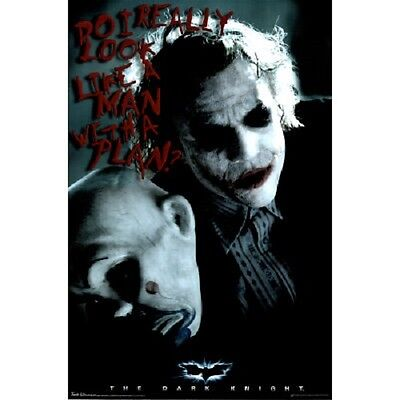 The Dark Knight Man With A Plan Joker Heath Ledger Poster New 22X34 Free Ship