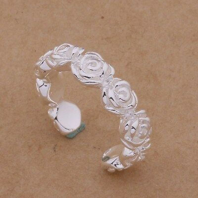 fda5e0e4a6cf6a 925 SILVER ADJUSTABLE Womens Toe/Thumb Ring. Small Flowers Design ...