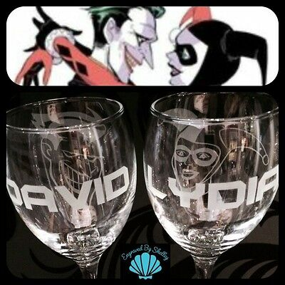 Handmade Personalised Wedding Glasses Bride & Groom. Harlequin & Joker! Batman!