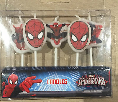 5pc Disney Spider Man Party Cake Decor Party Candles Star Top Party Supply