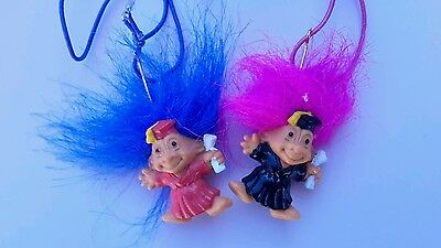 Russ Troll Doll, vintage 1990''s plastic toy figures. Two graduation necklaces