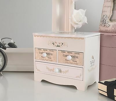 Rosie - Wooden Mini Jewellery Box with Mirror and 3 Drawers