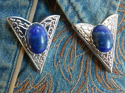New Handcrafted Collar Tips,genuine Blue Lapis, Silver Metal,goth,cowboy,western