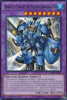 3 x Dinoster Power, the Mighty Dracoslayer (BOSH-EN046) - Rare - N. Mint -1st E.